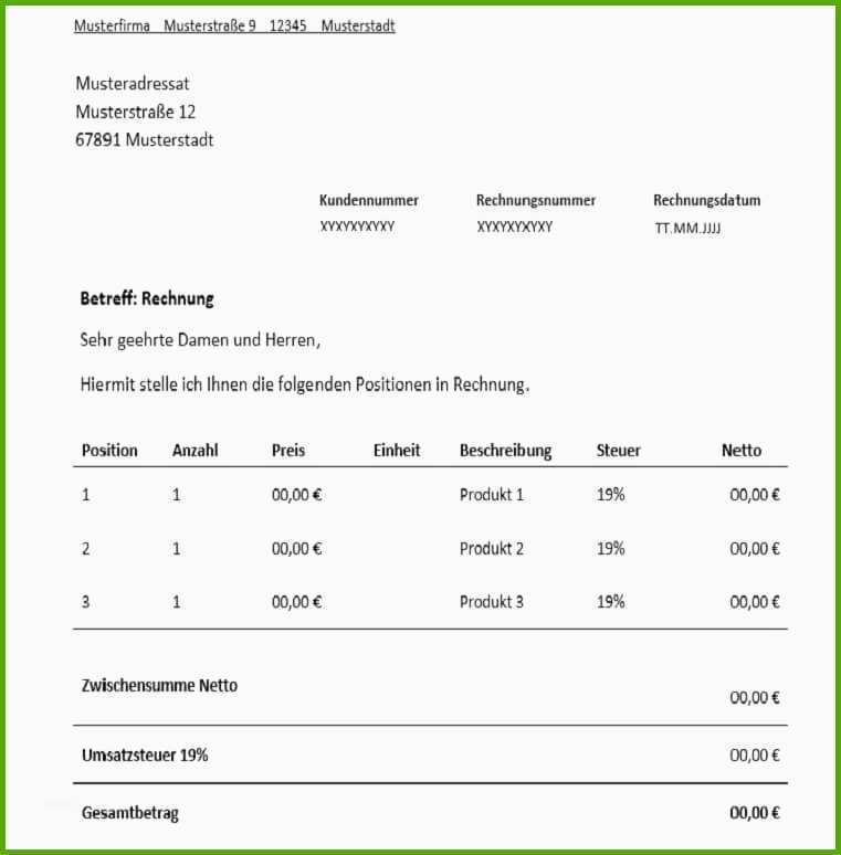 9 rechnung provision muster