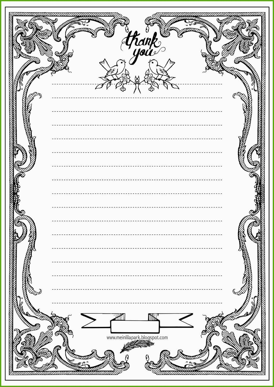 free printable thank you letter paper